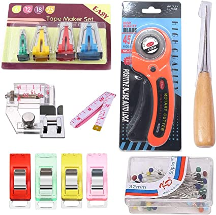 DANOFY 13Pcs Bias Tape Maker Set Sewing Fabric Bias Tape Makers Tool Kit Binding Foot Craft Clips 6MM 12MM 18MM 25MM Home DIY Sewing Accessories Tools Set
