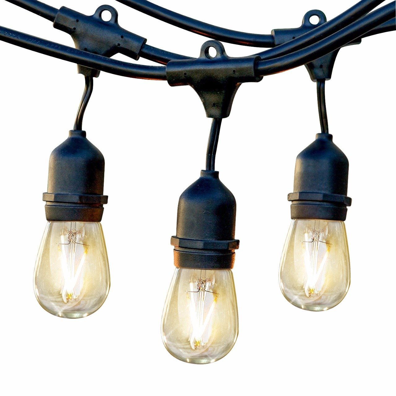 Brightech Ambience Pro LED Commercial Grade Outdoor Light Strand with Hanging Sockets - Non-Dimmable 2W Bulbs - 48 Ft Market Cafe Edison Vintage Bistro Weatherproof Strand for Porch Patio Garden -Blk