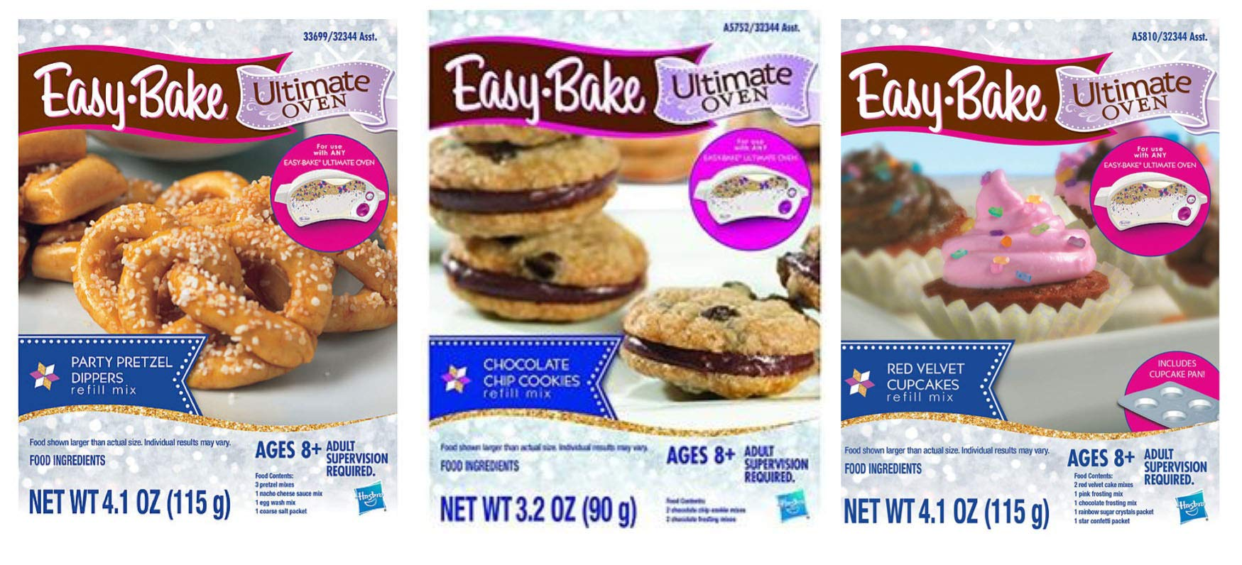 InterC Set of 3 Easy Bake Oven Mixes Refills one Each: Party Pretzel Dippers, Chocolate Chip Cookies, Red Velvet Cupcakes by InterC