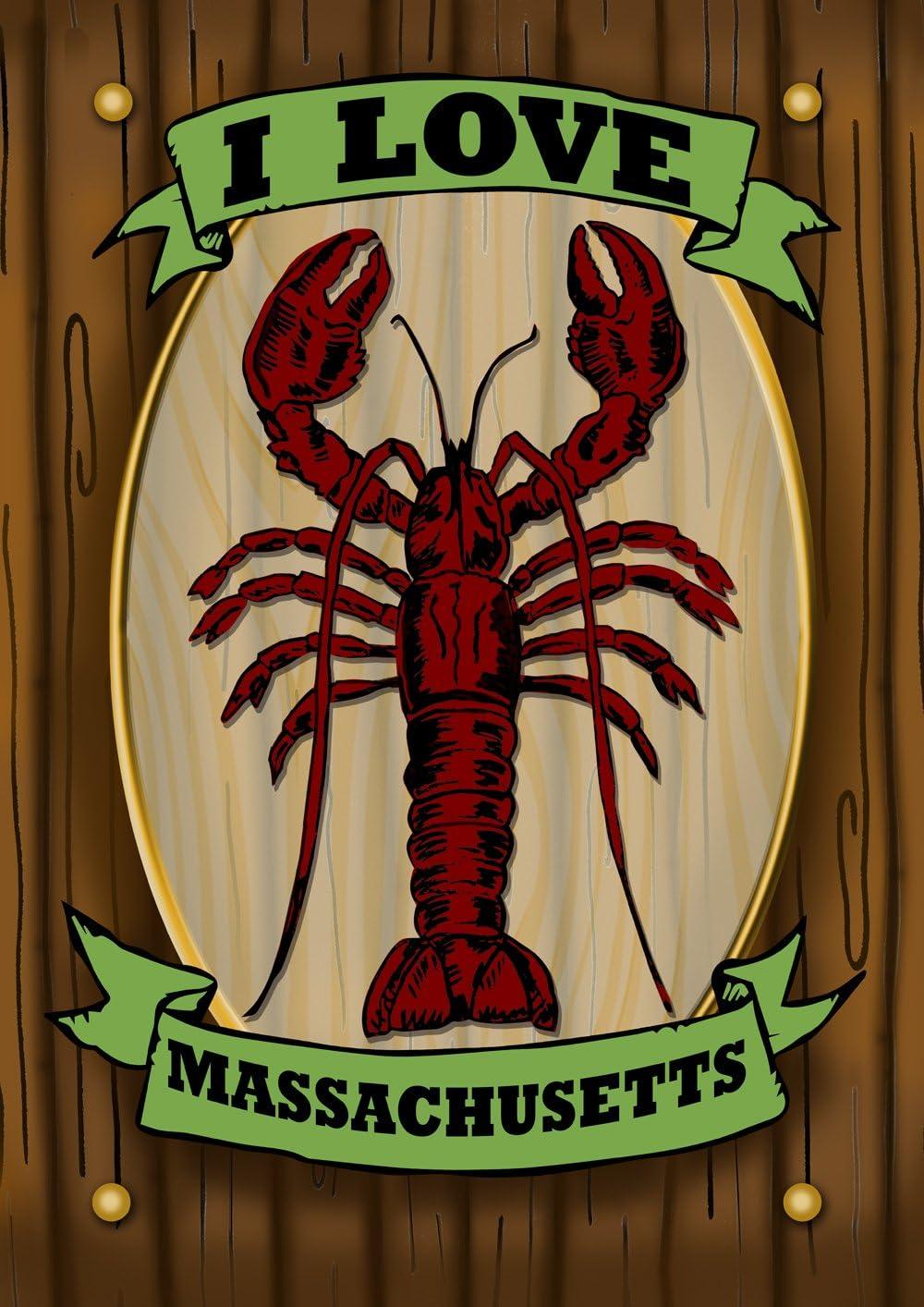 Toland Home Garden Massachusetts Lobster Sign 12.5 x 18 Inch Decorative Rustic Coastal Love Garden Flag