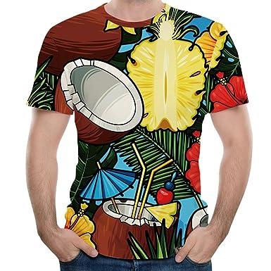 d5708e0366133 Longra Homme Tee Shirt 3D Imprimé Manche Courte Col Rond T-Shirt Homme Tank  Tops