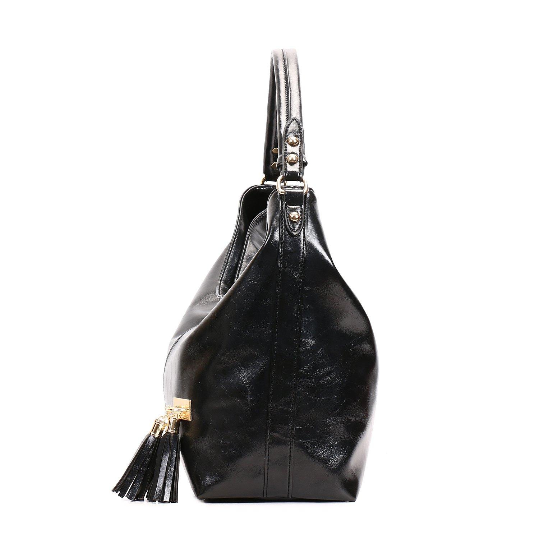 SIFINI Women Vintage PU leather Tote Bags Shoulder Bag Shopping Bag Handbag (black): Handbags: Amazon.com