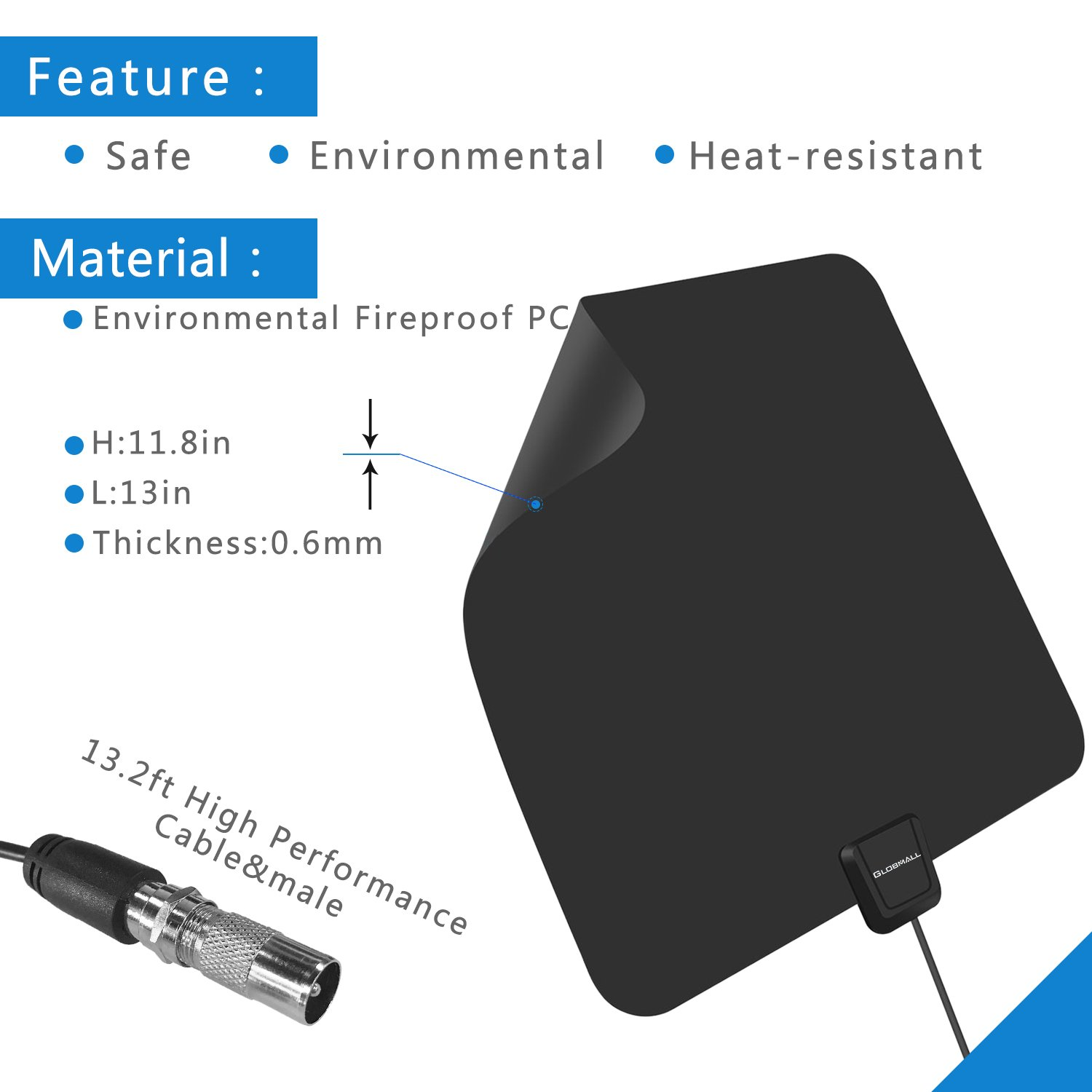 TV Aerial, Globmall Ultra-Thin TV Antenna 50 Miles Distance Detachable Indoor Singal Amplifier Booster, Digital HDTV Aerial 13.2FT Coaxial Cable for Digital Freeview & Analog TV Signals, Soft Design