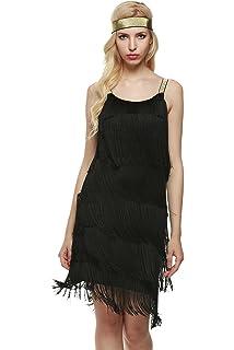 Swfitt Damen 1920er Kleid Flapper Kleid Fransenkleid Charleston Kleid  Knielang Abendkleid 3cfef87013
