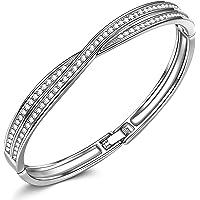 Bracelet LadyColour Waltz of Love Swarovski Crystals Bangle Bracelets Christmas Gifts Silver Tone Jewelry for Women…