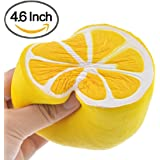 Squishy Toys by Gyoby - Super Soft Jumbo squishies Slow Rising lemon fruit Anti Stress Fidget - Stress Reliever Squeeze - Soft and cute Squishies Toy - squishy kawaii - For kids and adults (Yellow)