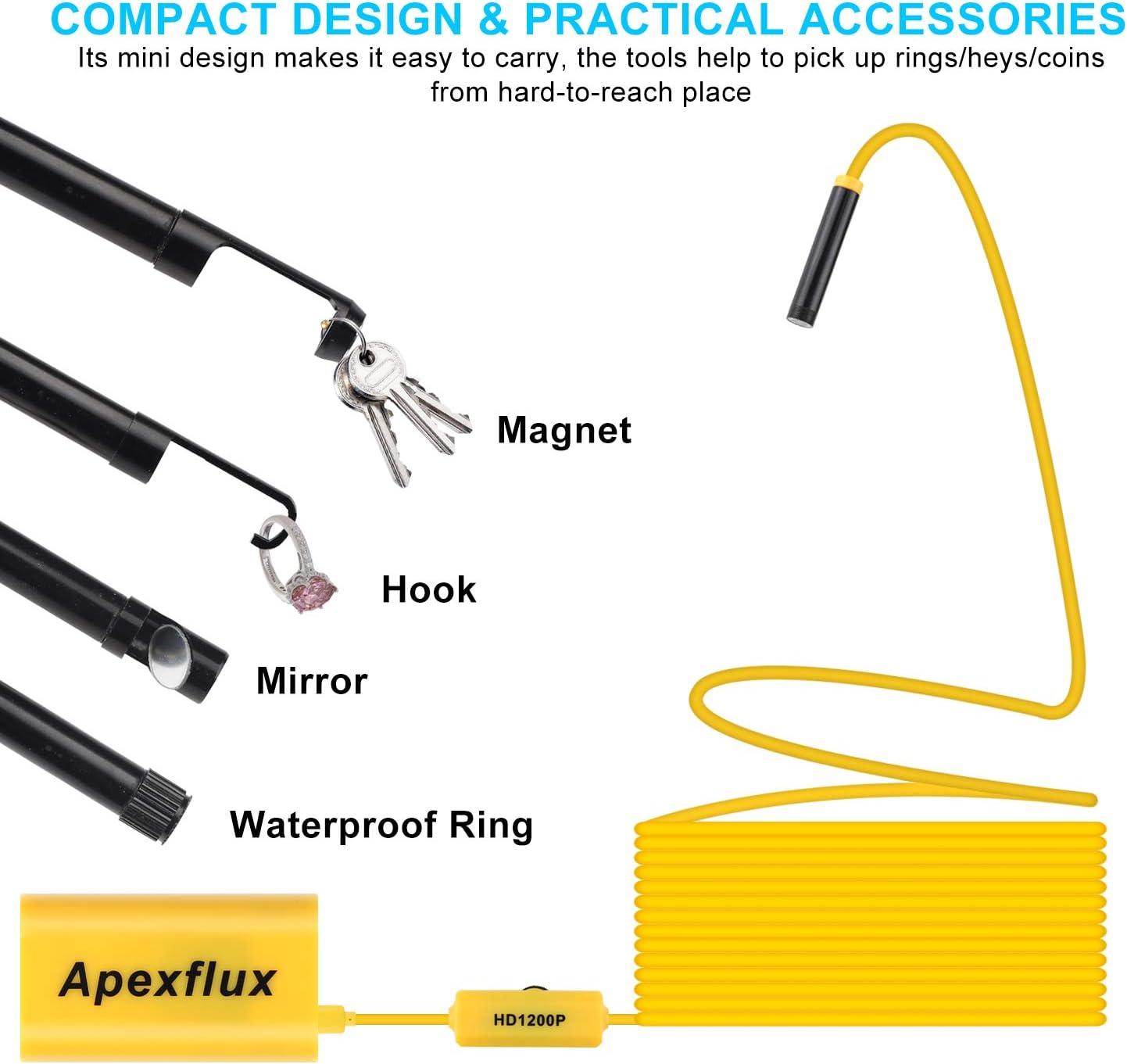 Apexflux Cámara endoscópica WiFi, cámara de inspección boroscópica inalámbrica, cámara de Serpiente de Alta resolución Ajustable con Cables semirrígidos para Smartphone/PC/Tablet (Amarillo, 5 m): Amazon.es: Electrónica