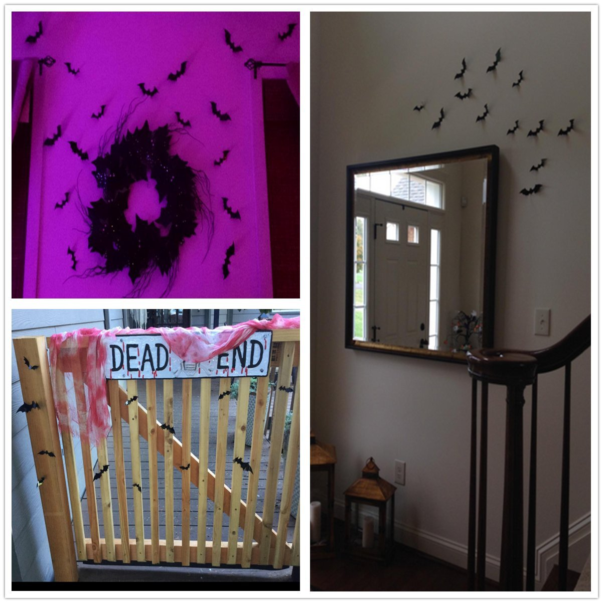 60 Pack Halloween Decorations Scary Bats 3D Black Bats Wall Decals Home Decor or Halloween Party Supplies Assorted Size