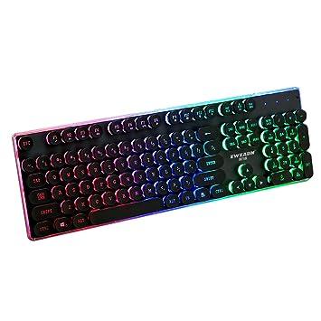 Vococal Retro Estilo de máquina de Escribir con Cable Retroiluminado Gaming Teclado Teclado Teclado Teclado con
