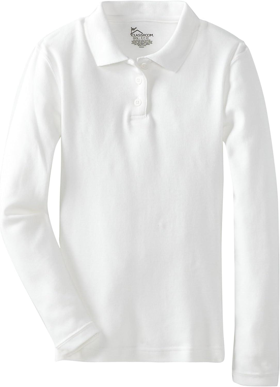 CLASSROOM Girls Long Sleeve Fitted Interlock Polo Shirt