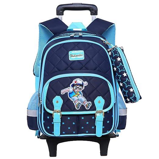 35287904f81c Fanci 2Pcs Star Prints Primary Boys Trolley Wheeled School Book Bag  Waterproof Elementary Boys Rolling School