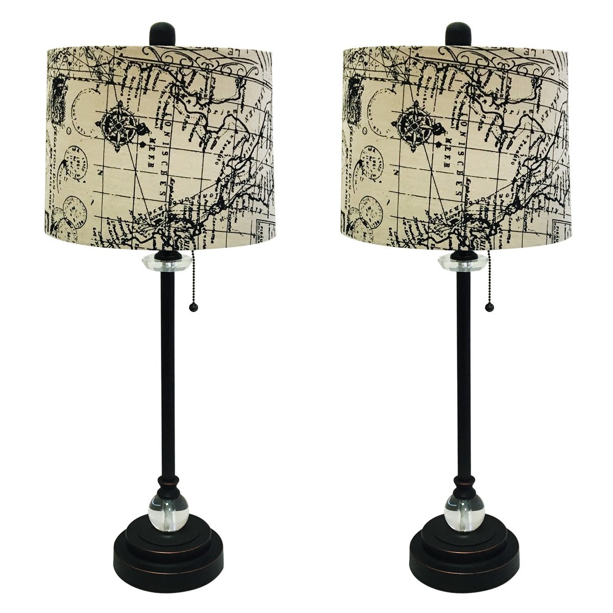 Royal Designs 28'' Crystal and Oil Rub Bronze Lamp with Vintage Map Postcard Design Drum Hardback Lamp Shade, Set of 6 by Royal Designs, Inc