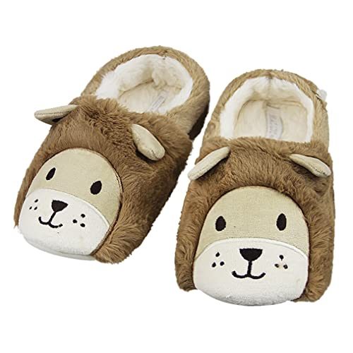 Three Winter Animals Closed Toe Cotton Slippers Warm Soft Indoor Shoes Non-watertight 7 D(M) US