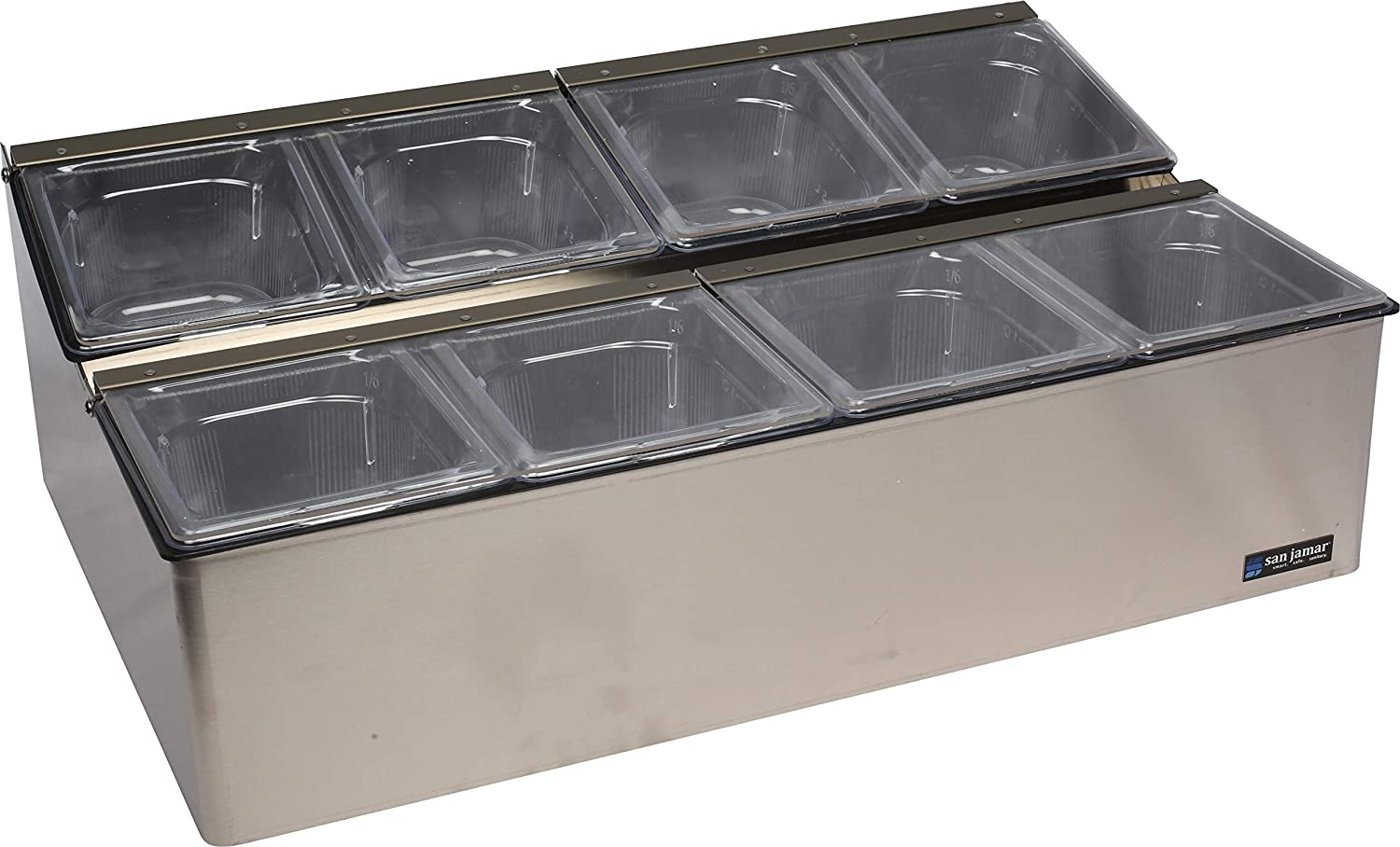 San Jamar B6183INL EZ-Chill Stainless Steel Condiment Center with Individual Notched Lid 18 Width x 5-7//8 Height x 5-3//8 Depth