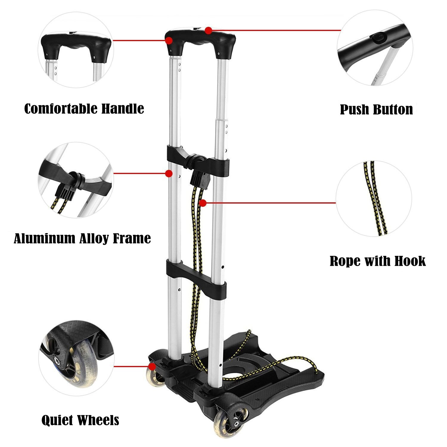Anfan Folding Luggage Cart Portable Personal Moving Hand Truck 2 Wheels Foldable Platform Truck Shopping Cart - Support 80lbs Capacity by Anfan (Image #4)