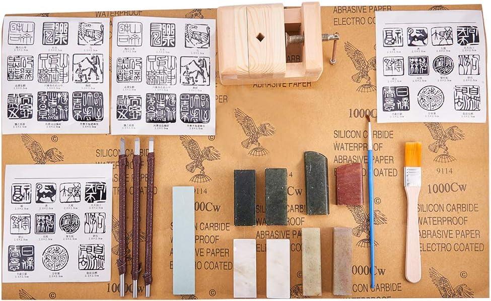 PandaHall Elite – 58 cuchillos para esculpir, sello de piedra, herramientas de escultura de piedra, herramientas de grabado, cuchillo para cortar escultura de sellos de piedra, cincel, piedra