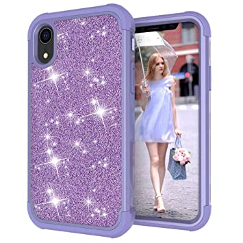 Amazon.com: Voberry TPU Bumper Shock Glitter Sparkle Stars Bling Diamond Girls Women Protective Cute Case Cover Skin Compatible iPhone XR 6.1 inch (Purple): ...