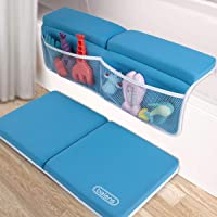 beiens Bath Kneeler with Elbow Rest Set, 1.5'' Thick Quickly Dry Kneeling Pad and Elbow Support for Knee & Arm Support Large Bathtub Kneeling Mat with Toy Organizer for Happy Baby Bathing Time (Blue)