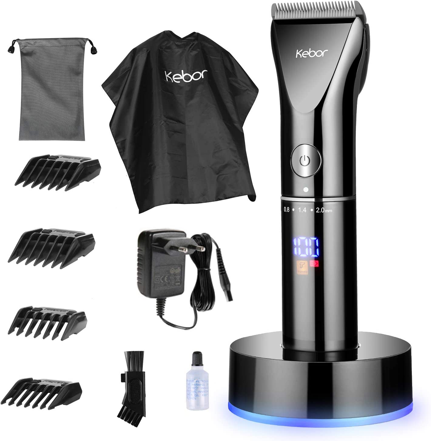 Cortapelos para Hombres, Juego de Recortador Eléctrico sin Cable con Batería de Litio Recargable, Pantalla LED, Base de Carga, con Aceite de peluquería, PC1010