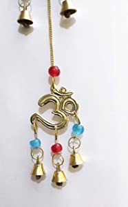 PARIJAT HANDICRAFT Brass Decorative String of Metal and Beads Vintage Indian Style Wall Hanging Bells (Om)