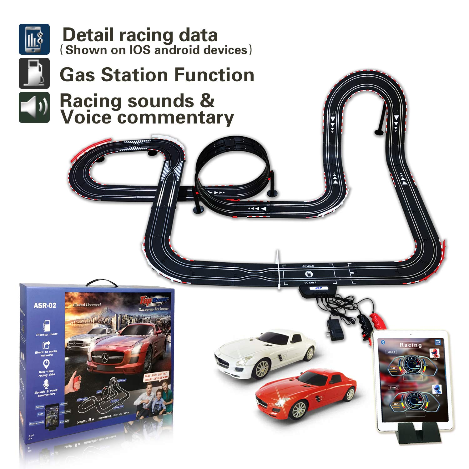 AGM Slot car Set with Racing Assistant APP No.ASR-02 1:43 Scale by AGM