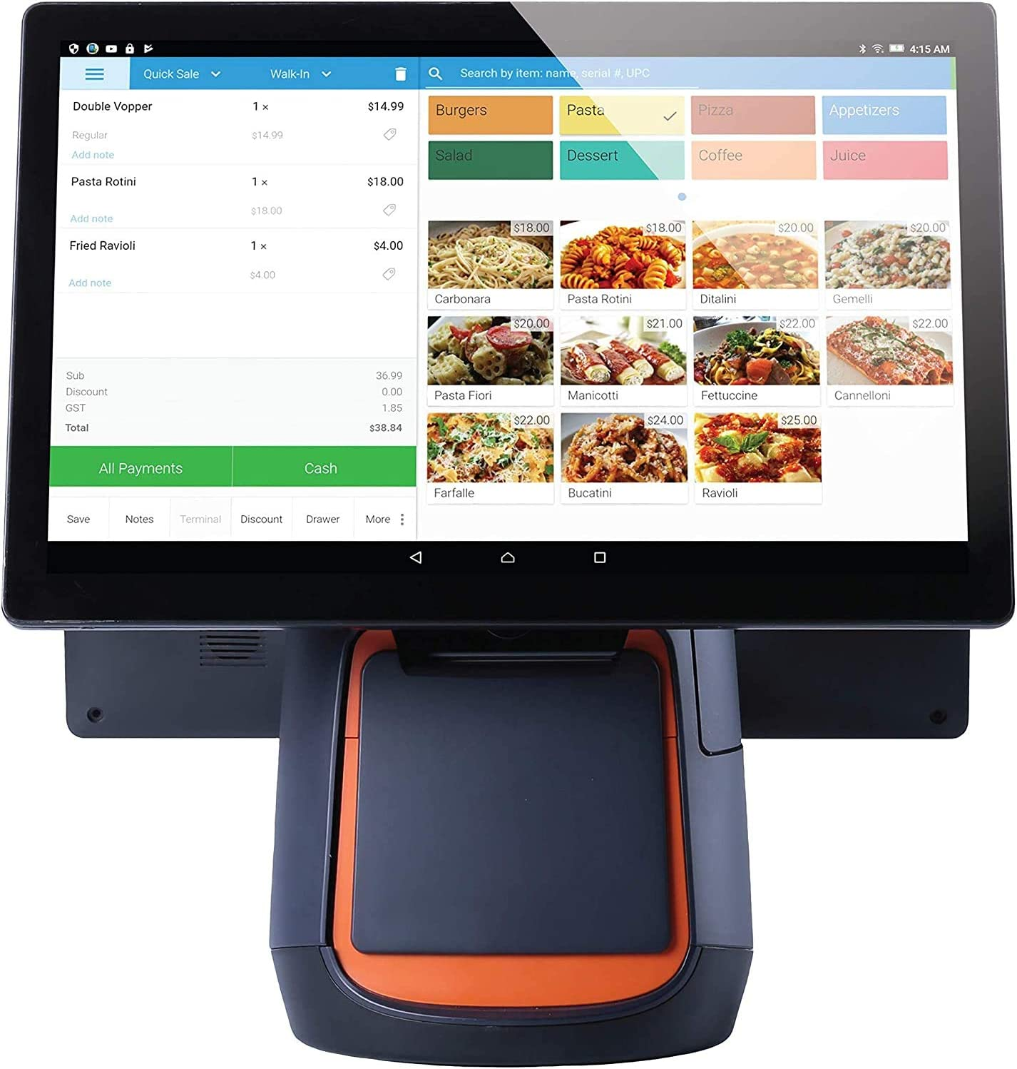"""eHopper All-in-One POS System – POS Software with Merchant Services, All in One Touchscreen POS Device with Customer Facing Display, Pax S300 Credit Card Terminal, 16"""" Cash Drawer : Electronics"""