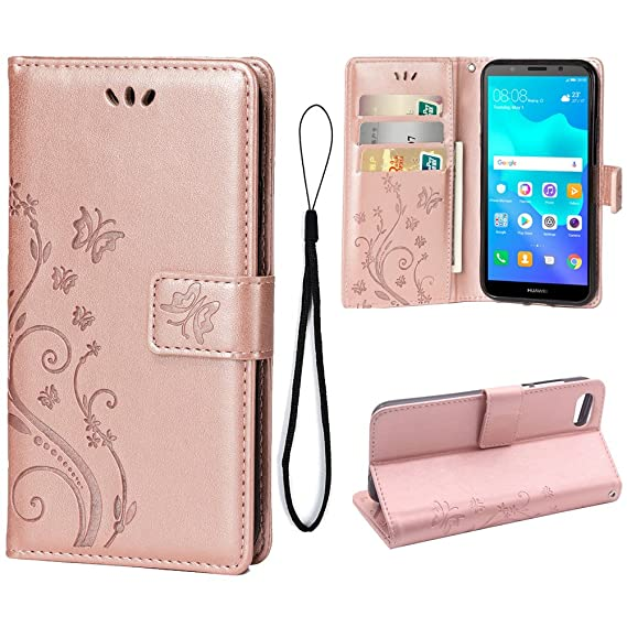 Wallet Case for Huawei Y5 2018/Y5 Prime 2018, 3 Card Holder Embossed  Butterfly Flower PU Leather Magnetic Flip Cover for Huawei Y5 2018/Y5 Prime