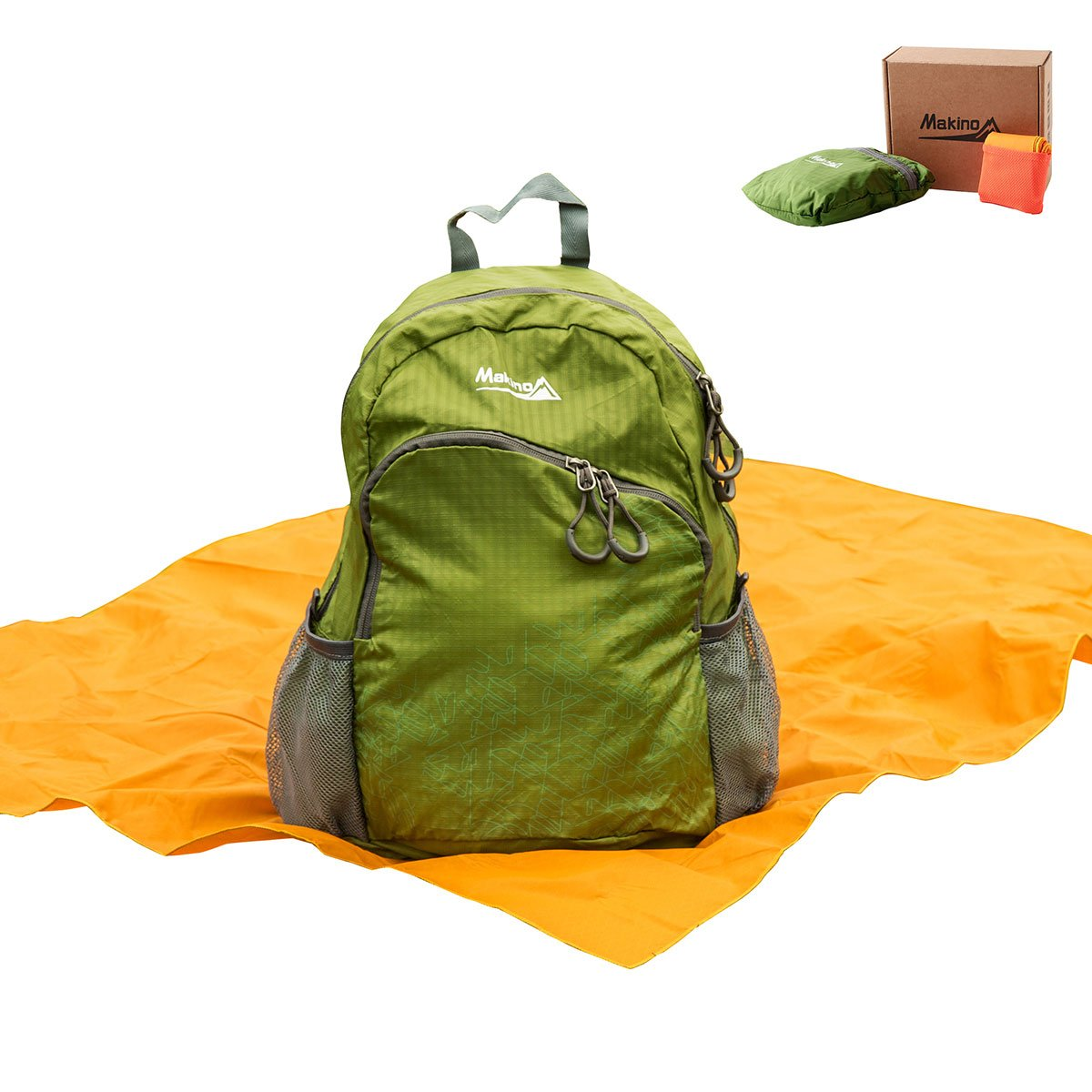 Makino Foldable Daypack Ultralight Packed with Pocket Blanket 5504 22 L Green with Blanket
