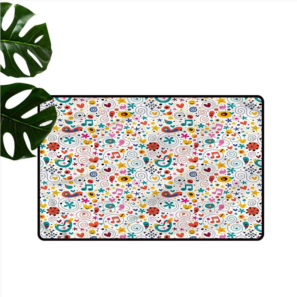DUCKIL Waterproof Door mat Kids Smiling Playful Characters Quick and Easy to Clean W35 xL59 by DUCKIL