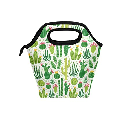 66b435642fd3 Naanle Cactus Insulated Zipper Lunch Bag Cooler Tote Bag for Adult Teen Men  Women, Cactus Lunch Boxes Lunchboxes Meal Prep Handbag