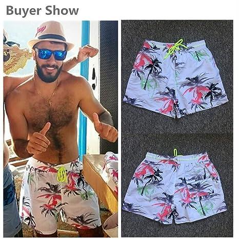 SCBMSAIURBF Men Beach Shorts Swimwear Men Swim Shorts Surf Wear Board Shorts Summer Swimsuit Yellow Tree Asian 5XL