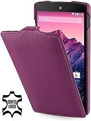 StilGut, UltraSlim, pochette exclusive en cuir véritable pour le Google Nexus 5, pourpre