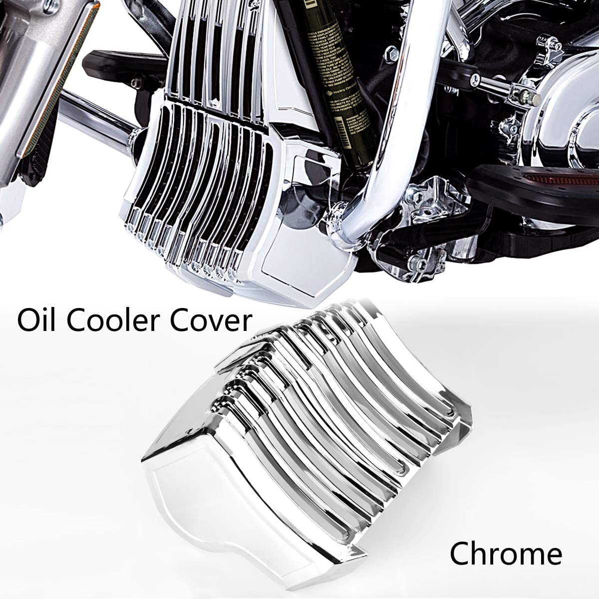 Amazon Com Chrome Precision Oil Cooler Cover For Harley Touring Street Glide Flhx 2017 2018 Automotive