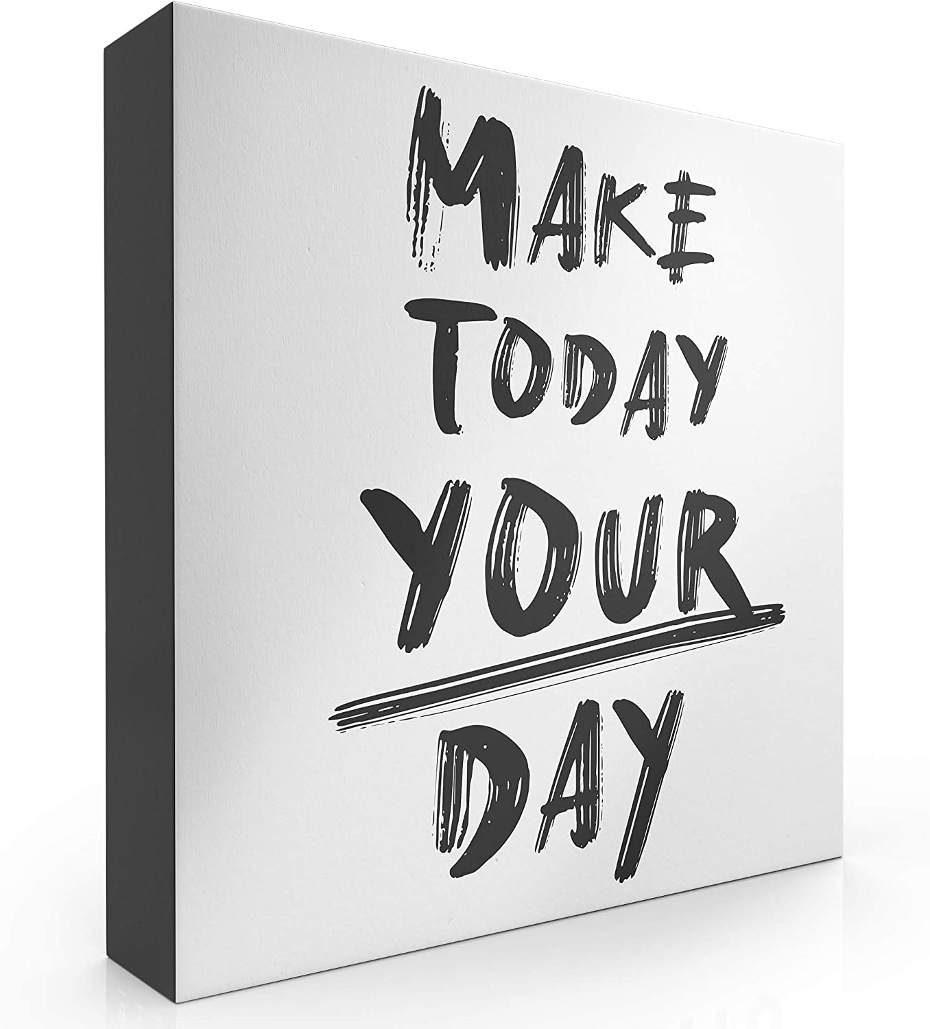 "Modern Market Make Today Your Day Wooden Box Sign Inspirational Motivational Quote Home Decor Sign with Sayings 8"" x 8"""