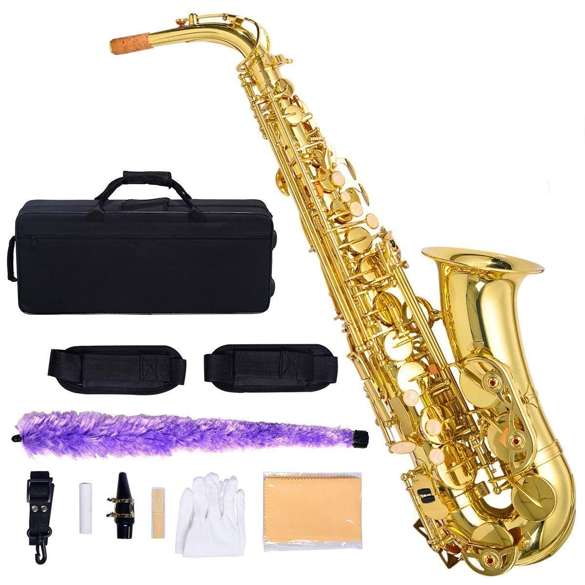 Costzon Alto Saxophone, E-Flat Gold Lacquer Finish, High F Key, Full Set Accessories with Carry Case, Neck Straps, Mouthpiece, Cork Grease, Reed, Cleaning Cloth Rod, Gloves for Beginner Student by Costzon