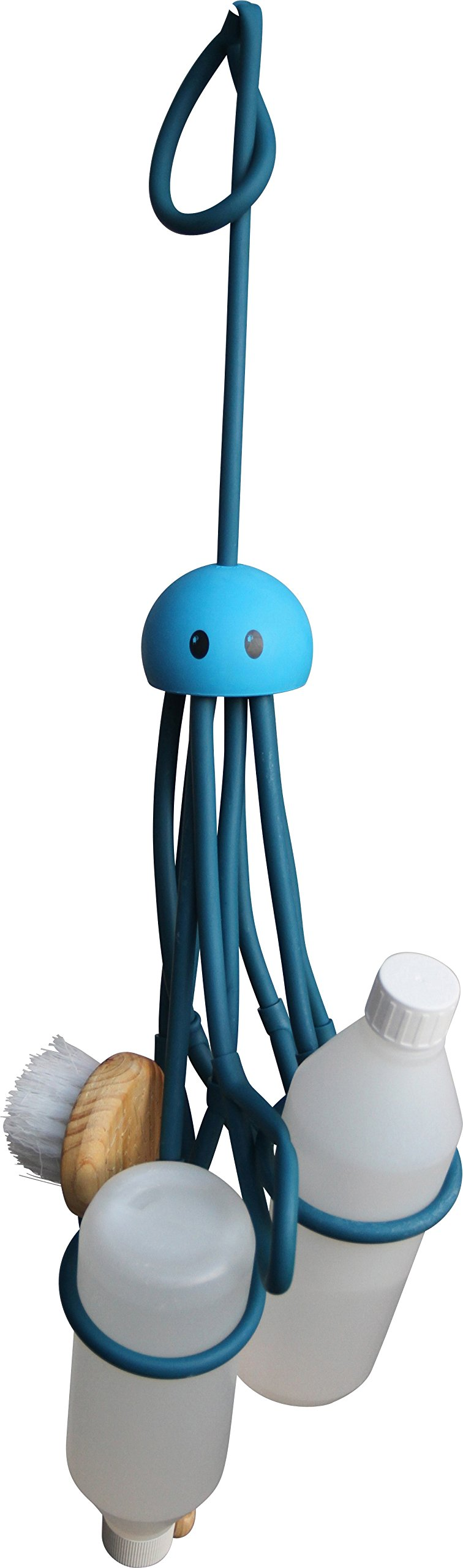Formverkert Octopus Shower Caddy (in Blue) - Shower Gel Shampoo Conditioner Brush Razors Toys Accessories Holder, 9 Slots, Fits All Sized Bottles, Stylish Fun Bath Shower Organizer, Designed in Sweden