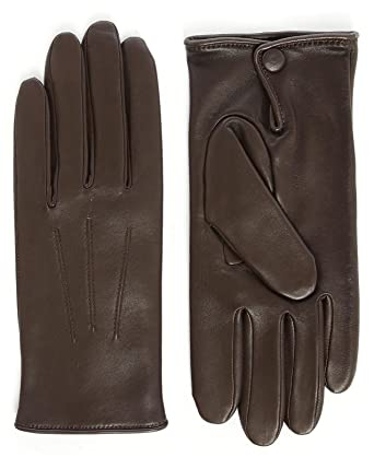 ec0db28b1f71be AGNELLE - Handschuhe - Herren - Braune Lederhandschuhe, mit Wolle  gefüttert, Touchscreen-geeignet