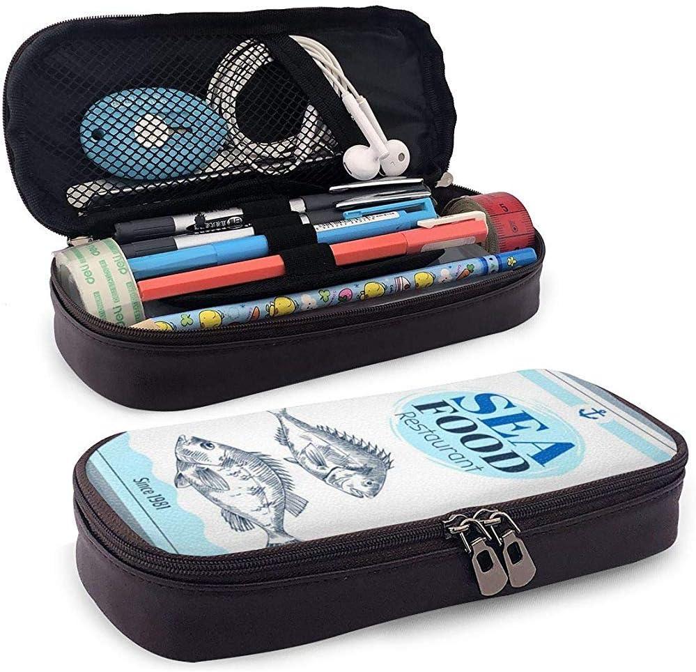 Besugo o lubina dibujados a mano Conjunto de estandarte de mariscos Estuche de cuero para estuche de lápices Estuche de estuche para lápices con estuche: Amazon.es: Oficina y papelería