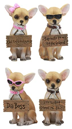Ebros Set of 4 Adorable Fashion Tea Cup Chihuahua Dogs Statues Each Wearing Humorous Faux Wood Collar Signs Small Chihuahuas Figurines 4.25 Tall