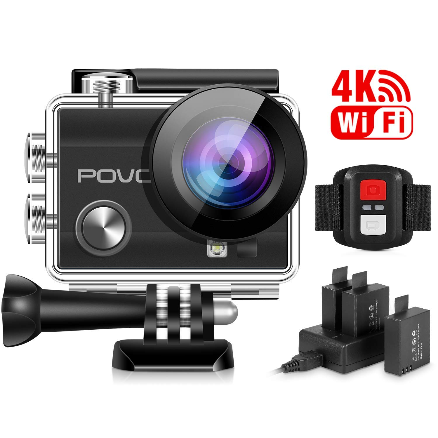 4K Sport Action Camera Ultra HD Wifi Helmet Cam Sony Sensor DV Camcorder With Remote Control and 3 Batteries and  Waterproof Case by POVO