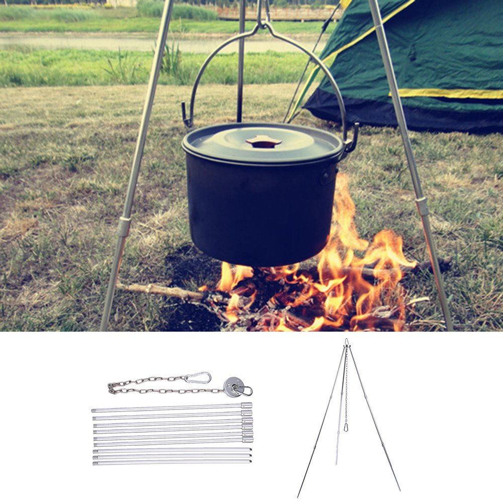 Serda Campfire Tripod Camping Cooking Dutch Oven Tripod Adjustable Foldable Hanging Pot Campfire Grill Stand and Lantern Hanger