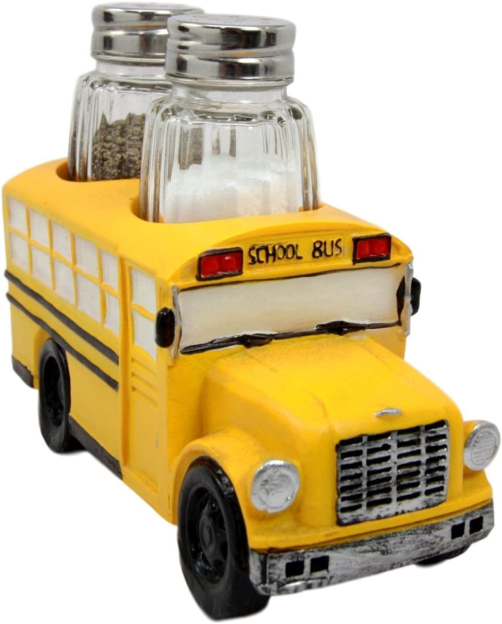 Atlantic Collectibles North American Yellow School Bus Decorative Glass Salt Pepper Shakers Holder Resin Figurine 6L