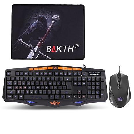 BAKTH Pack de Teclado y Ratón Gaming(Ajustable 3 colores de retroiluminación / Caracteres con