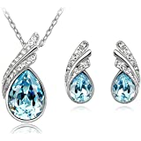 Habors 18K White Gold Plated Ocean Blue Austrian Crystal Astra Pendant Set for Women
