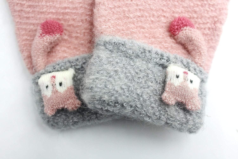 5-11Y Kids Boys Girls Knit Winter Gloves Warm Fleece Lined Cartoon Fox Mittens