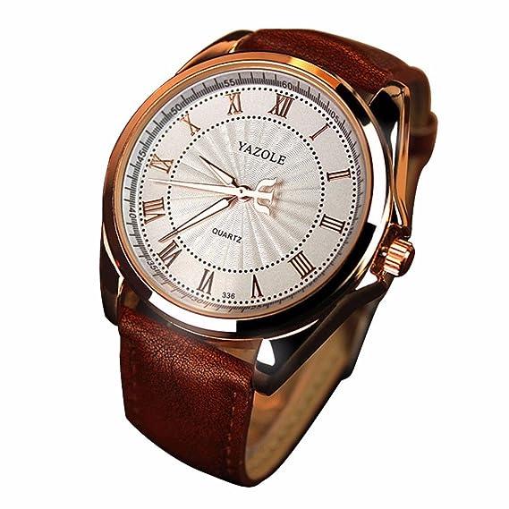 Cuero YAZOLE los números romanos del reloj de Fashin de Brown de los hombres del reloj esfera blanca Relojes ocasionales para los hombres: Amazon.es: ...