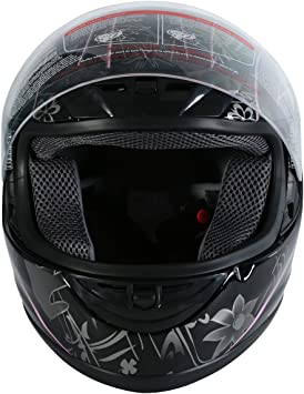 XFMT DOT Adult Flip Up Full Face Motorcycle Helmet Street Dirt Bike ATV Helmet Black Pink Butterfly XL