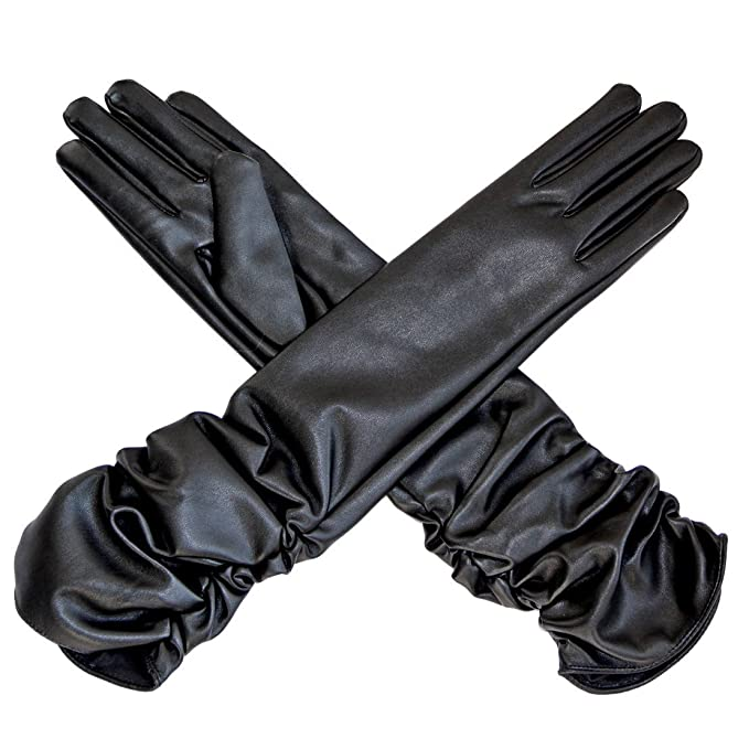 Vintage Style Gloves- Long, Wrist, Evening, Day, Leather, Lace ECOSCO Ladies Women Opera Long Leather Gloves Hand Warmer Black $14.99 AT vintagedancer.com