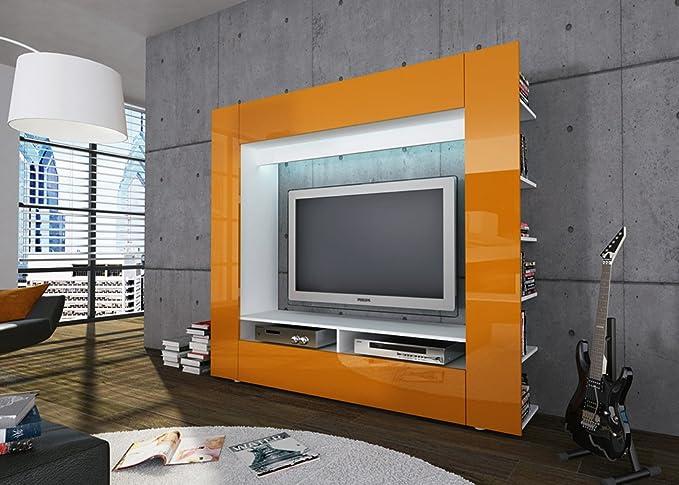 Easyfurn Tv Meubel.Easyfurn Multimedia Wall Unit Olli In Orange High Gloss Amazon Co