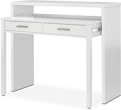 Habitdesign 004582BO - Mesa de escritorio extensible, color Blanco ...